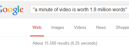 A Video is Not Worth 1.8 million Words