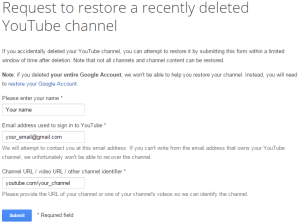 Restore YouTube Form