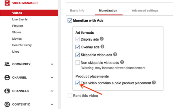 monetisation sponsored content checkbox
